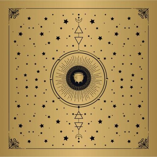 Toalha Dourada para Oráculo Intenções (70x70) + Bolsa
